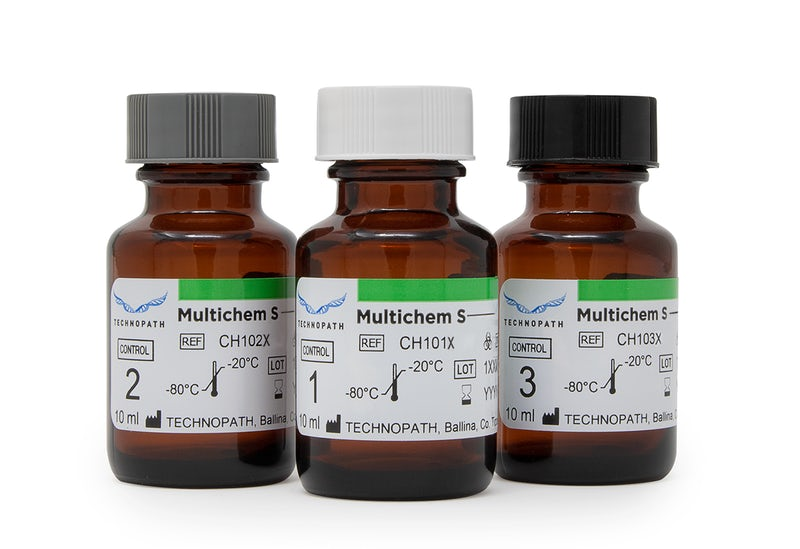 Multichem S Vials. level one, level two and level three